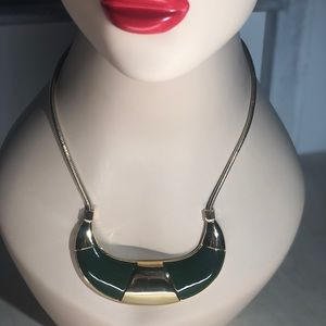 Trina Turk - Green & Goldtone Curved Necklace
